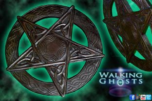 Wooden Hand Carved Pentacle Pentagram Wall Plaque Wiccan Magick Pagan 34cm